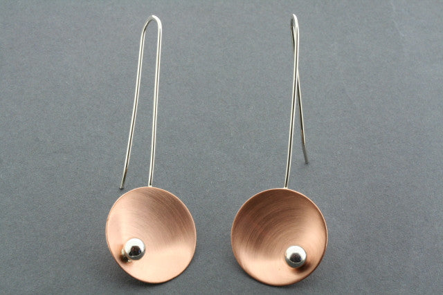 copper cup / silver ball long drop earring