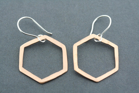 copper hexagon earring - matte