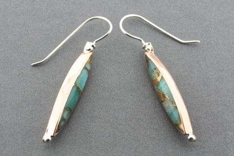 copper & bronzed amazonite spear earring