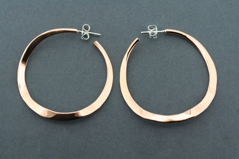 copper circular curved hoop stud - polished