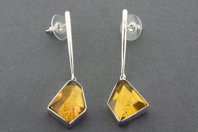 faceted amber drop stud