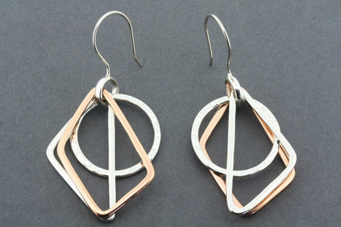 geometric shapes earring - silver & copper