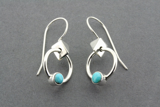 earring hoop & triangle - turquoise