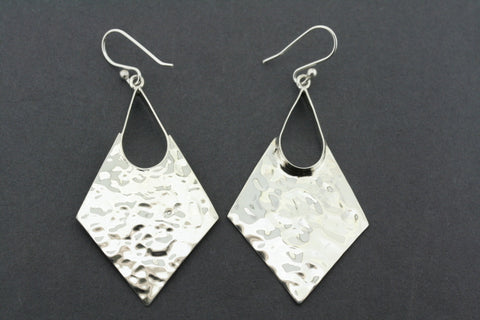 large battered earring - diamond