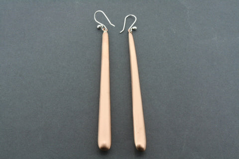 long tubular brushed copper earring