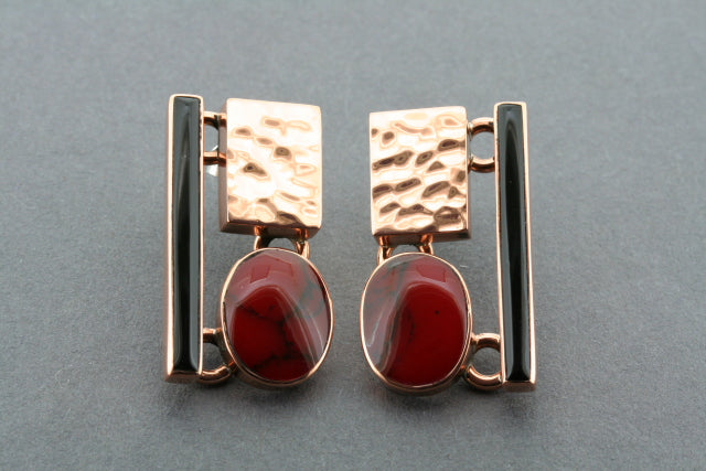 copper, red, black deco stud