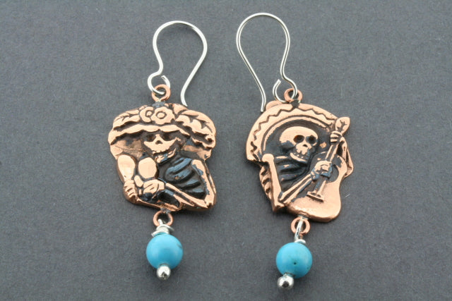 day of the dead mariachi earring - copper & turquoise