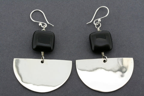 square onyx and half silver moon earring