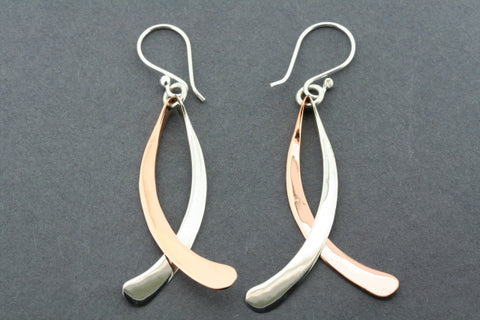 copper & silver curved drop earring