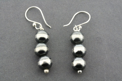 3 x zebra ball bead drop earring
