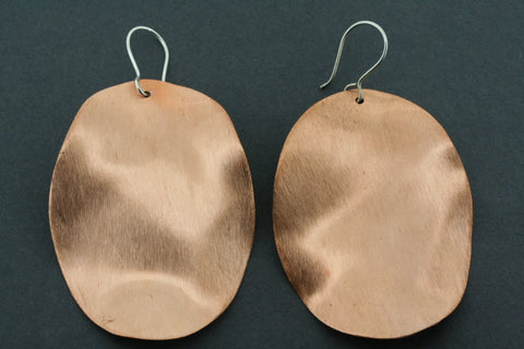 brushed copper oval curved disc earring - large