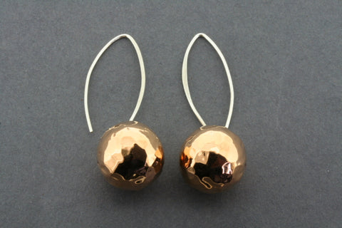 16 mm Copper Ball and Silver Battered earrings