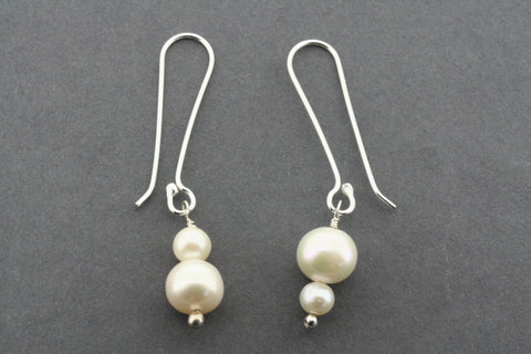 long drop double pearl earring