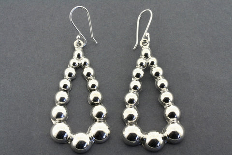 Sterling Silver 14 Bead Teardrop Hoop Earrings
