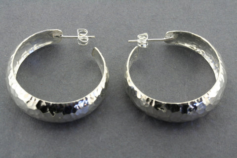 battered convex hoop - sterling silver