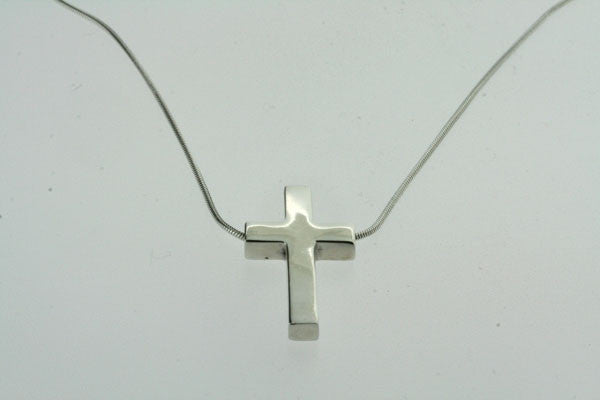 cross pendant on short snake chain