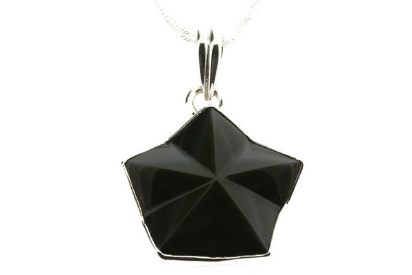 rainbow obsidian star pendant - large on 55cm chain