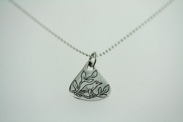 floral bird pendant - small on 55cm ball chain
