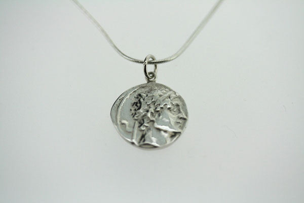 ancient greek coin pendant on 45cm snake chain