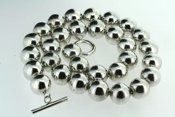 14mm Silver Ball Bead Necklace