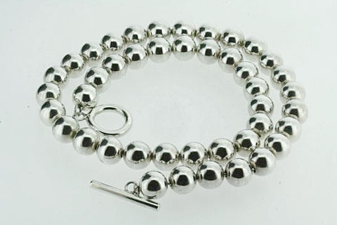 10 mm Sterling Silver Ball Bead Necklace