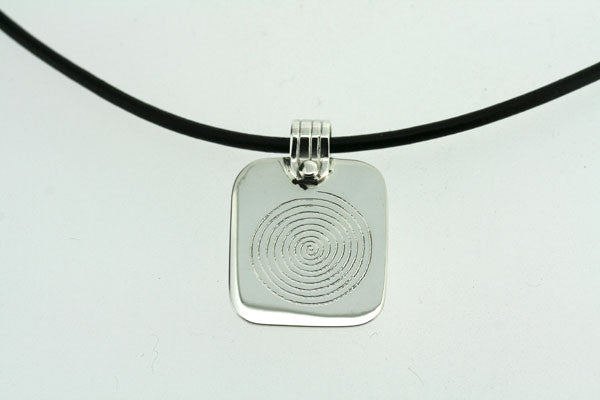 infinity spiral pendant on black leather