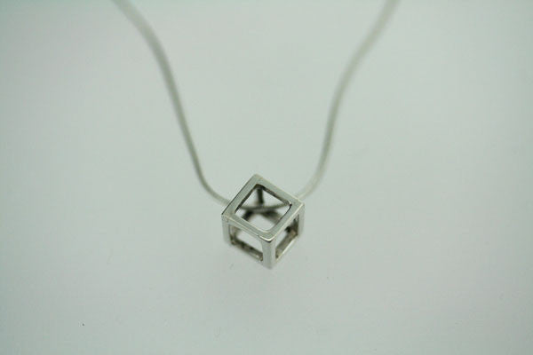 small cube pendant on 45cm snake chain