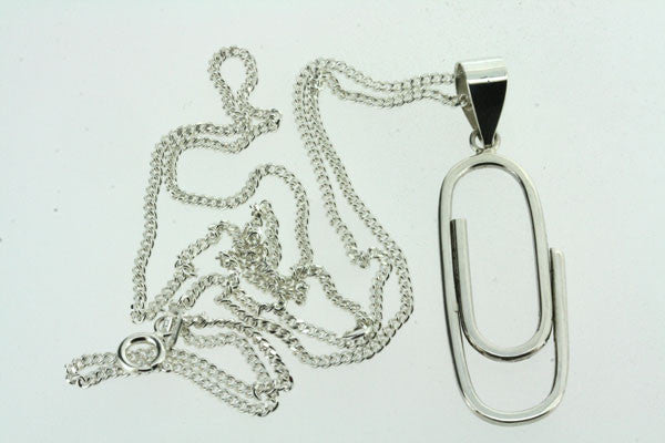 paperclip pendant on 55cm link chain