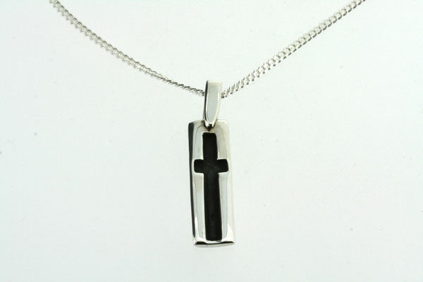 indent cross pendant on 60cm link chain