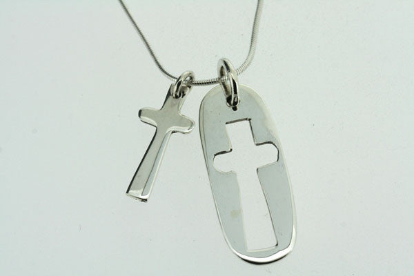cross pendant and cutout on 50cm snake chain