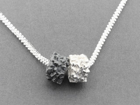 Silver druzy pendants, sterling silver and oxidized on a 45 cm chain