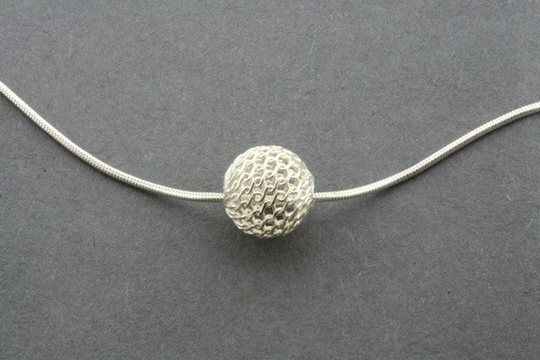 lace ball pendant on 45cm snake chain