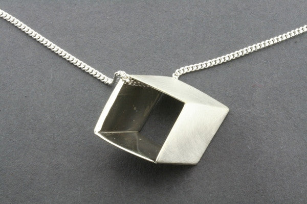 flattened cube pendant on 60cm link chain