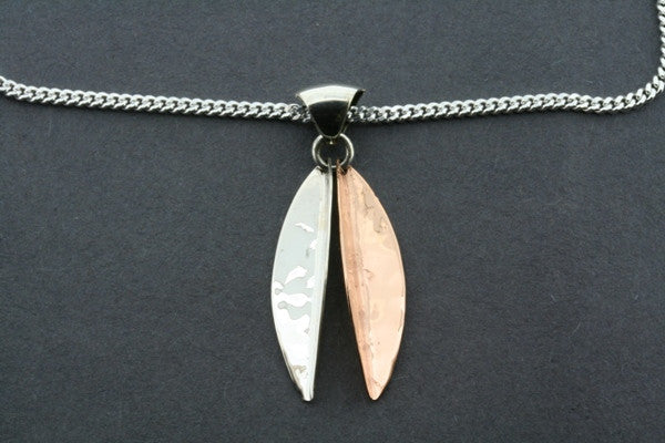 small angled copper/silver pendant on 55 cm link chain