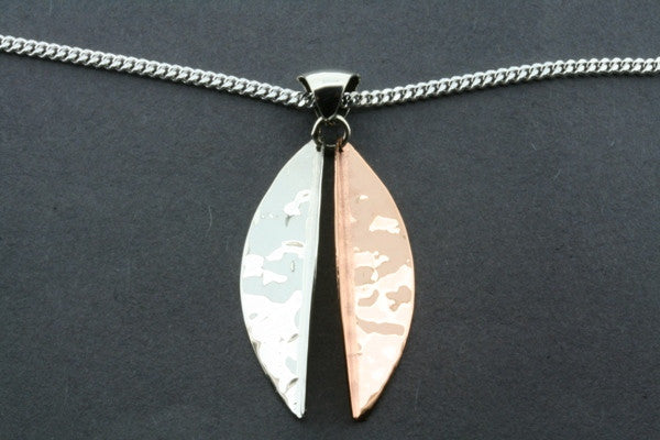 large angled silver/copper pendant on 60cm link chain