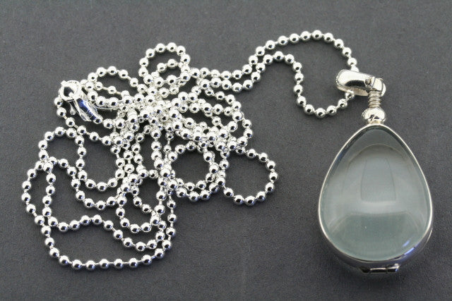 teardrop glass locket on 80cm ball chain