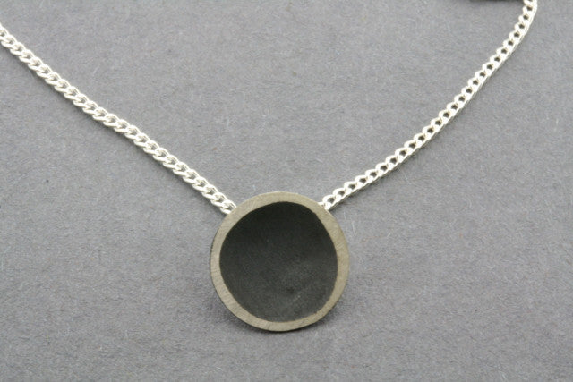 oxidized silver disc necklace