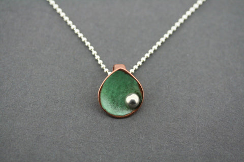patina copper teardrop disc with silver ball pendant on 45cm ball chain