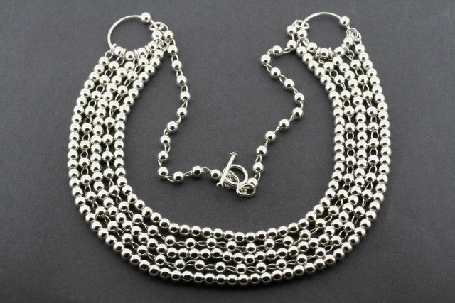 5 strand ball bead necklace