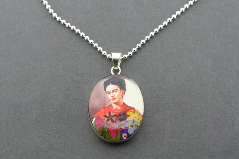 Frida Kahlo pendant on 70cm ball chain