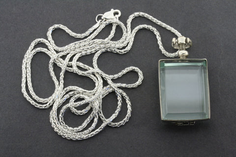 glass locket pendant - rectangular on 80 cm espiga chain