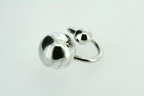 Contrasting Spheres Polished Sterling Silver Ring