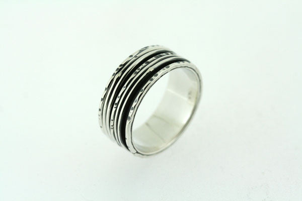5 Band Sterling Silver Rustic Spinner Ring