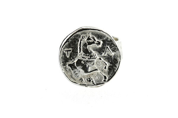 ancient greek horse coin ring