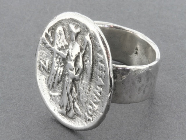 Angel coin ring - sterling silver