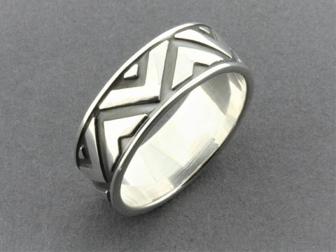 Victory band - oxidized silver