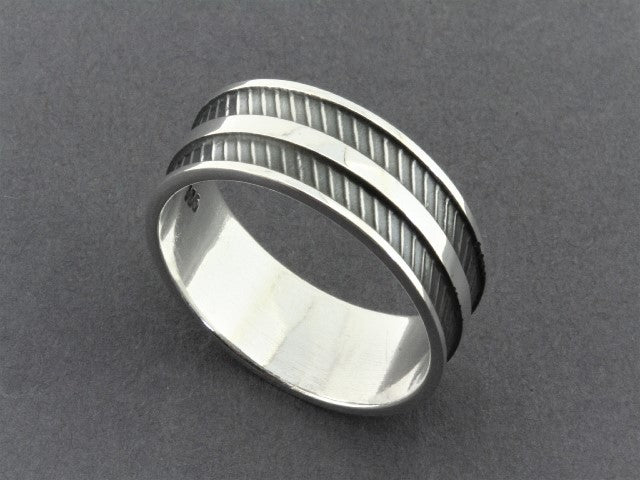 stripe band - sterling silver