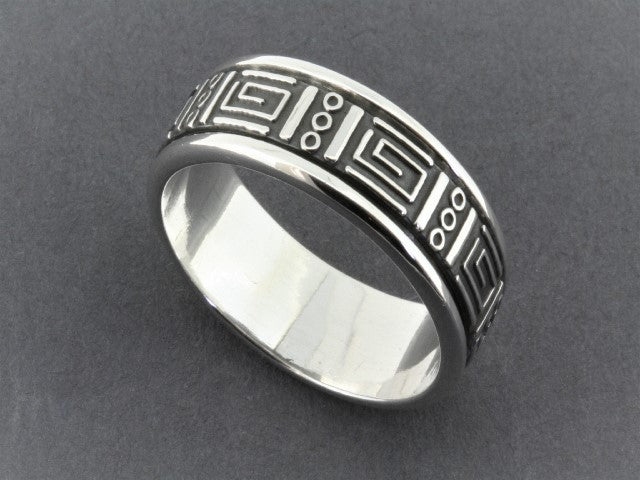 geometric spinner ring - sterling silver