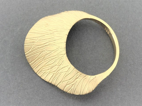small wave ring - gold lines - 22 Kt gold over sterling silver