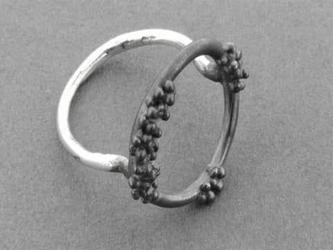 Beaded circle ring - oxidized silver